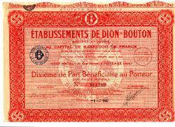De Dion Bouton Wertpapier