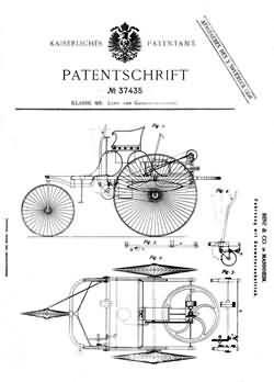 Patentschrift für Motorwagen