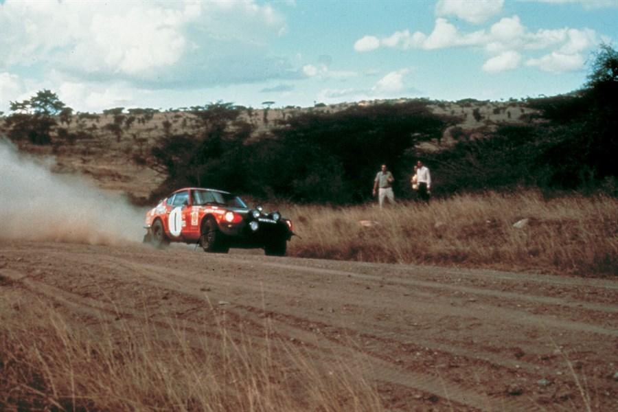 Datsun Fairlady 240Z bei der Safari Rallye 1973